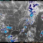 This enhanced infrared image of the Eastern U.S. shows Tropical Depression One in the Atlantic, at about the same latitude as the Maryland-Pennsylvania border (NOAA)