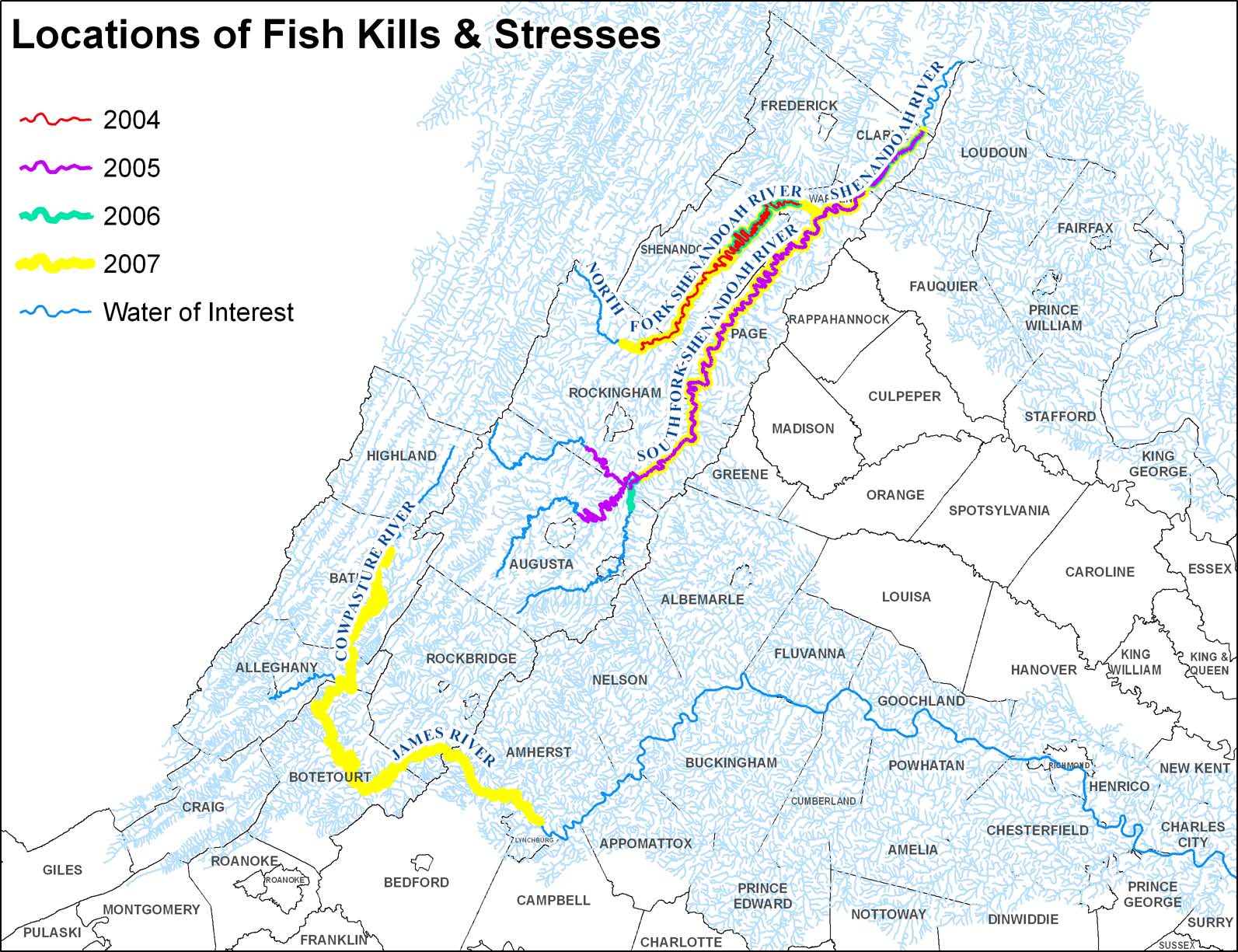Rivers affected by fish kills in Virginia. (Virginia Department of Game and Inland Fisheries)